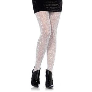 NWT Leg Avenue OS Shimmer Lurex Tights Silver
